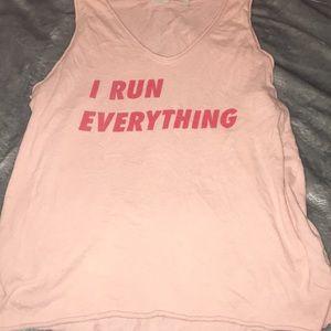 """Pink """"I Run Everything"""" Tank"""